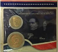 2010 US MINT PRESIDENTIAL $1 COIN & FIRST SPOUSE MEDAL SET FRANKLIN PIERCE