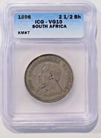 1896 SOUTH AFRICA 2 1/2 SHILLINGS -- ICG VG10 -- KM 7 --  SILVER