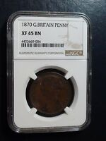 1870 PENNY GREAT BRITAIN NGC XF 45 BN LARGE 1P COIN AUCTION