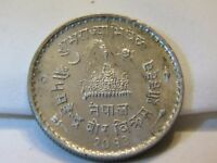 NICE XFF/AU 1956 NEPAL 1 RUPEE CORONATION COIN LOT 846