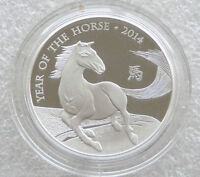 2014 ROYAL MINT BRITISH LUNAR HORSE 2 TWO POUND SILVER PROOF