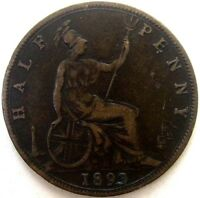 GREAT BRITAIN UK COINS HALF PENNY 1893 VICTORIA