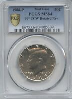 1988 50 90 CCW ROTATED REV. DIES PCGS MS 64