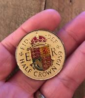 VINTAGE ENAMELLED HALF CROWN COIN 1959. LUCKY CHARM. XMAS OR