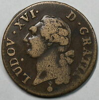 1791 AA FRANCE COPPER 1 SOL COIN  METZ MINT  17041124R