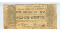 1862 $0.50 CENTS STATE OF VIRGINIA CITY OF RICHMOND OBSOLETE NOTE   CIR