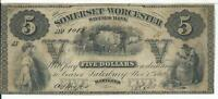 MARYLAND SOMERSET AND WORCESTER $5 SAVINGS BANK NOTE 1862 CATTLE BARREL SMITH