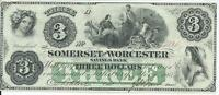 MARYLAND SOMERSET AND WORCESTER $3 BANK NOTE 1862 CU GREEN OVERPRINT REV 2110