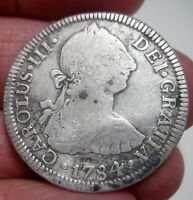 1784 F.M  MEXICO  2 REALES  SILVER  COLONIES         VARIETY