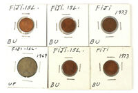 LOT OF FIVE 1 CENT AND ONE 10 CENT COINS FROM FIJI DATED 1973 AND 1969