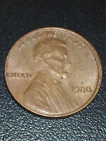 1980 LINCOLN CENT   OBVERSE 'MISALIGNED DIE' ERROR  SOUTH WEST