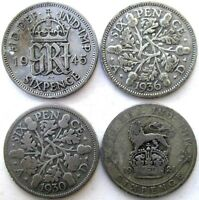 UK COINS SIXPENCE 1921 & 1930 & 1936 & 1945 GEORGE V & VI SI