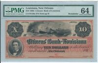 CITIZENS' BANK OF LOUISIANA NEW ORLEANS $10 1860S FAMOUS DIXIE PMG 64 NOTE G26A