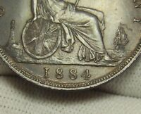 EXTRA LINE  1884 PENNY GREAT BRITAIN  BRONZE COIN
