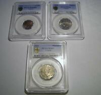 CYPRUS LOT OF 3 CERTIFIED COINS PCGS PISATRE 1938 X 2    PIA. 1944 HIGH GRADE