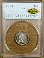 1881 PCGS PR65 THREE CENT NICKEL   OLD GREEN RATTLER   CAC GOLD