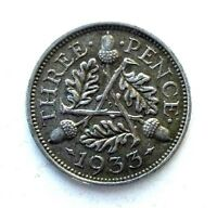GREAT BRITAIN UK COINS THREEPENCE 1933 GEORGE V SILVER 0.500