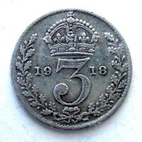 GREAT BRITAIN UK COINS THREEPENCE 1918 GEORGE V SILVER 0.925