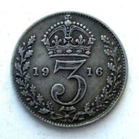 GREAT BRITAIN UK COINS THREEPENCE 1916 GEORGE V SILVER 0.925