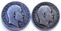 GREAT BRITAIN UK COINS THREEPENCE 1902 & 1908 EDWARD VII SIL