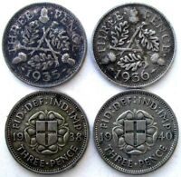GREAT BRITAIN COINS THREEPENCE 1935 & 1936 & 1938 & 1940 SIL