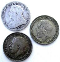 GREAT BRITAIN COINS THREEPENCE 1900 & 1918 & 1921 VICTORIA G