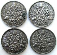 GREAT BRITAIN COINS THREEPENCE 1931 & 1932 & 1934 & 1936 GEO