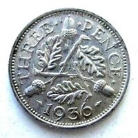 GREAT BRITAIN UK COINS THREEPENCE 1936 GEORGE V SILVER 0.500
