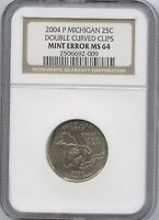 2004 MICH. 25 DOUBLE CLIP   NGC MS 64