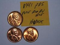 WHEAT CENT 1941,1941D,1941S RED BU SET OF 3 LINCOLN CENTS 1941-P,1941-D,1941-S