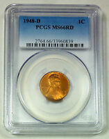 1948-D PCGS MINT STATE 66 RD RED UNITED STATES LINCOLN WHEAT CENT / PENNY