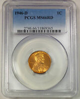 1946-D PCGS MINT STATE 66 RD RED UNITED STATES LINCOLN WHEAT CENT / PENNY