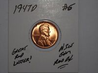 WHEAT CENT 1947D GREAT GEM RED BU 1947-D LINCOLN CENT LOT 6 UNC RED LUSTER