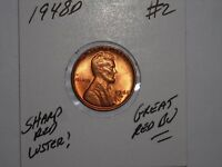 WHEAT CENT 1948D GREAT GEM RED BU 1948-D LOT 2 LINCOLN CENT RED UNC LUSTER