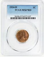 1934-D 1C PCGS MINT STATE 67 RD - FLASHY RED GEM - LINCOLN CENT - FLASHY RED GEM