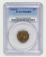1915-S 1C PCGS MINT STATE 64 RB - BETTER DATE S-MINT - LINCOLN CENT - BETTER DATE S-MINT