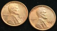 GEM RED BU 1947-D & 1947-S LINCOLN WHEAT CENTS. HIGH GRADE NOT AVERAGE BU