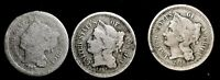 LOT OF 3 1866 3 CENT NICKELS