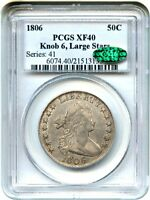 1806 50C PCGS/CAC EXTRA FINE 40 KNOB 6, LARGE STARS POPULAR EARLY BUST HALF