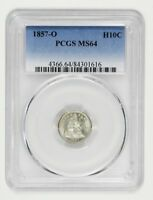 1857-O H10C PCGS MINT STATE 64 - FROSTY TYPE COIN - SEATED HALF DIME - FROSTY TYPE COIN