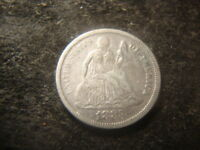1883  VF SEATED LIBERTY DIME   RIMS FULL LIBERTY DECENT COIN  MG