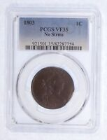 1803 DRAPED BUST NO STEMS LARGE CENT CERTIFIED PCGS VF 35 1C