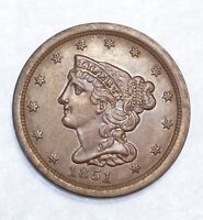 1851 BRAIDED HAIR HALF CENT ALMOST UNCIRCULATED 1/2-CENT