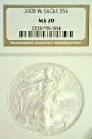 2008-W BURNISHED AMERICAN SILVER EAGLE  NGC MS70          2680NAM