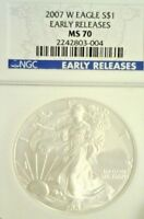 2007-W AMERICAN BURNISHED SILVER EAGLE  NGC MS70         2681NAM