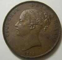 GREAT BRITAIN 1 ONE PENNY 1853 EXCELLENT LARGE COIN HIGH GRADE UK BRITISH
