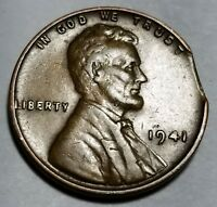 1941   CURVED CLIP LINCOLN WHEAT CENT MINT ERROR LOT 3784