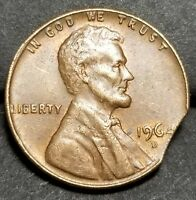 1964 D    LARGE CURVED CLIP LINCOLN MEMORIAL CENT MINT ERROR LOT 3225
