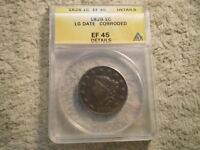 1828 CORONET HEAD LARGE CENT EF45 ANACS/ CORRODED, LARGE DATE