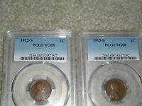 1912-S & 1913-S LINCOLN PENNIES SLABBED, GRADED & CERTIFIED, PCGS  VG 08